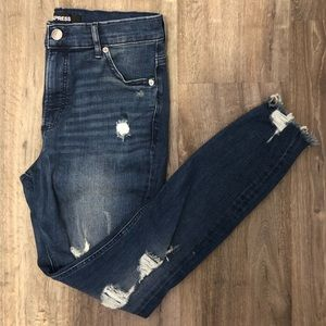 Express High Waisted Denim Perfect Ripped Ankle